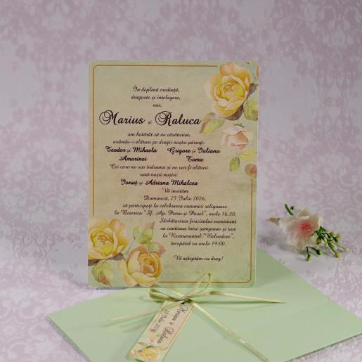 Invitatie de nunta florala verde mint 22103 Polen