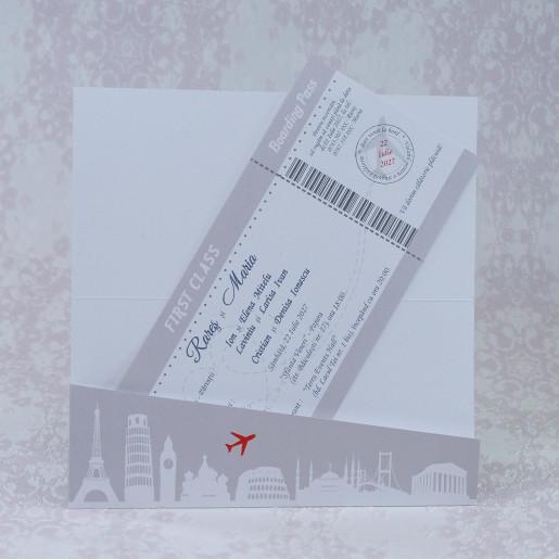 Invitatie de nunta bilet avion 2219 Polen