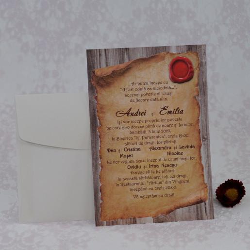 Invitatie de nunta cu model papirus 2231 Polen