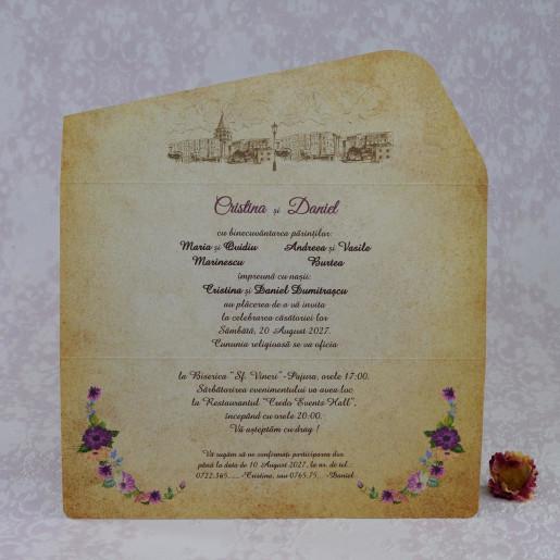 Invitatie de nunta maro florala in forma de plic 2208 Polen