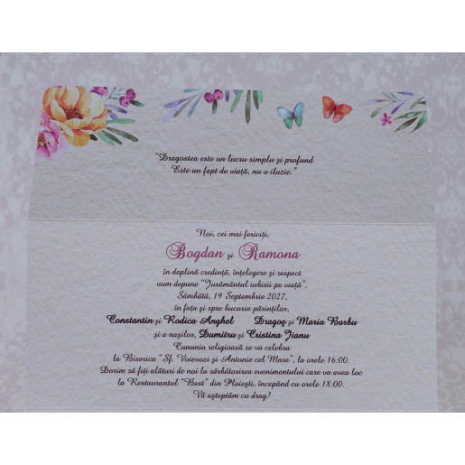 Invitatie de nunta florala tip plic 2209 Polen