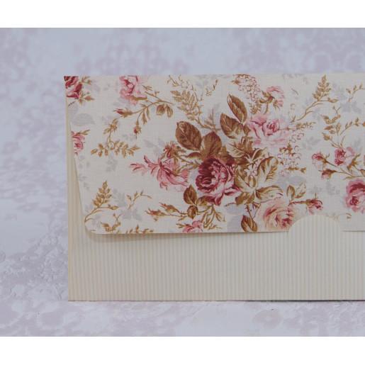 Invitatie de nunta florala crem in forma de plic 2211 Polen