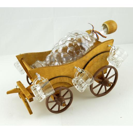 Suport din lemn pentru sticla si pahare Caruta ES3448