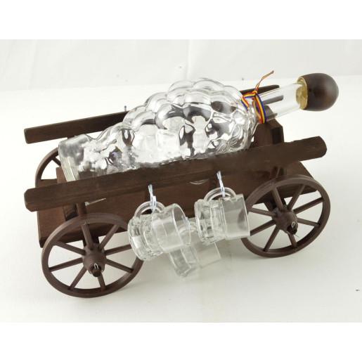 Suport din lemn pentru sticla si pahare Caruta ES3449