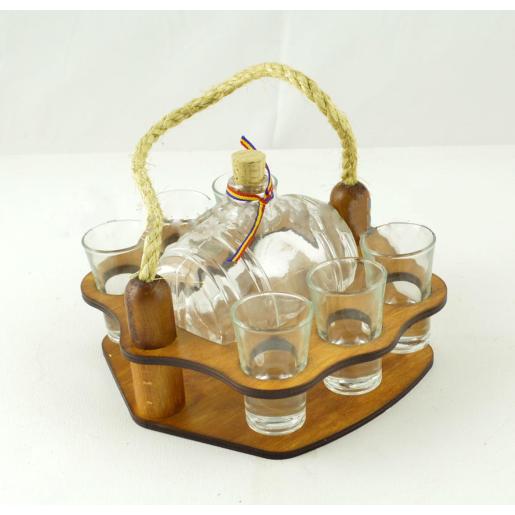 Suport din lemn pentru sticla butoi si 6 pahare ES3459