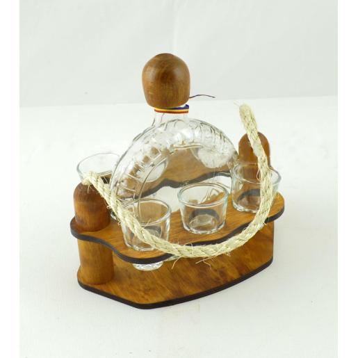Suport din lemn pentru sticla Plosca si 6 pahare ES3460