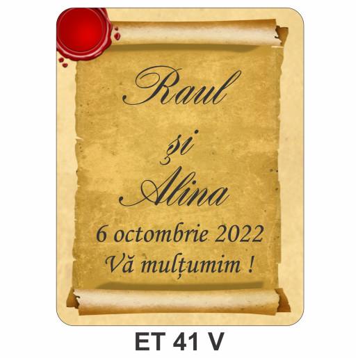 Eticheta pentru sticla ET 41 V
