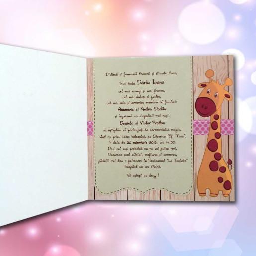 Invitatie de botez cu girafe simpatice 115 LARA BABY - BEST