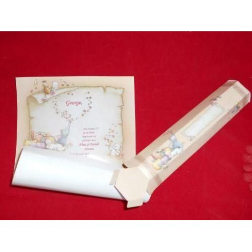 Invitatie de botez papirus crem cu animalute si jucarii 15103D