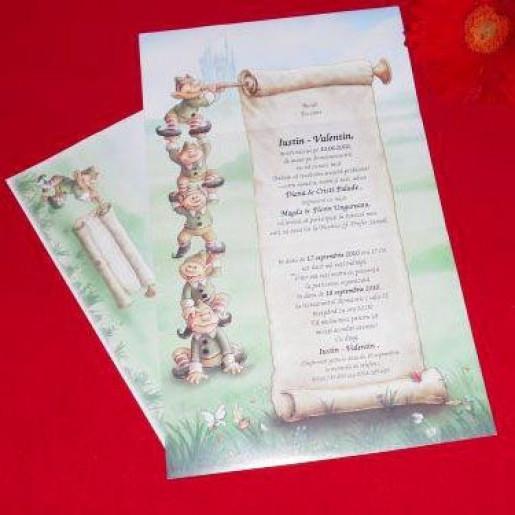 Invitatie de botez cu spiridusi si papirus