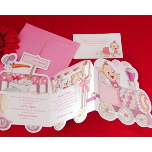 Invitatie de botez trenulet roz 15208 DELUXE