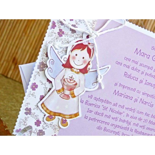 Invitatie de botez roz cu ingeras 15307