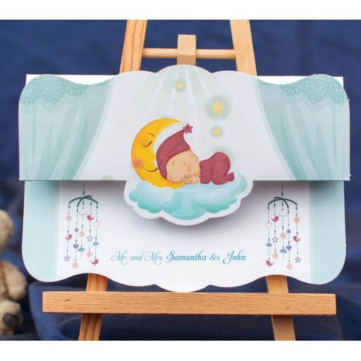 invitatie botez cu decupaj bebe pe norisor