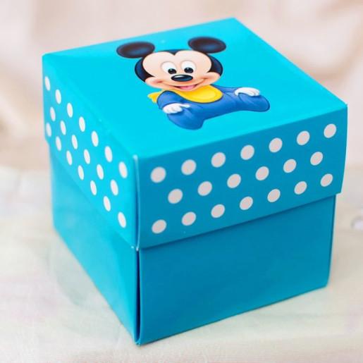Invitatie de botez cutiuta albastra cu Mickey Mouse 3620B