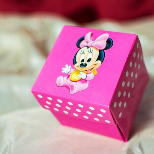 Invitatie de botez tip cutiuta roz cu Minnie Mouse 3621B