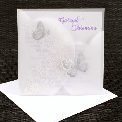 Invitatie de nunta alba cu calc si fluturi argintii 1122 Polen