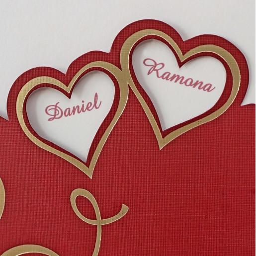 Invitatie de nunta bordo cu inimioare aurii 1129 Polen