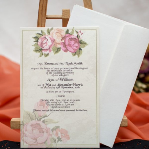 Invitatie cu model floral 154