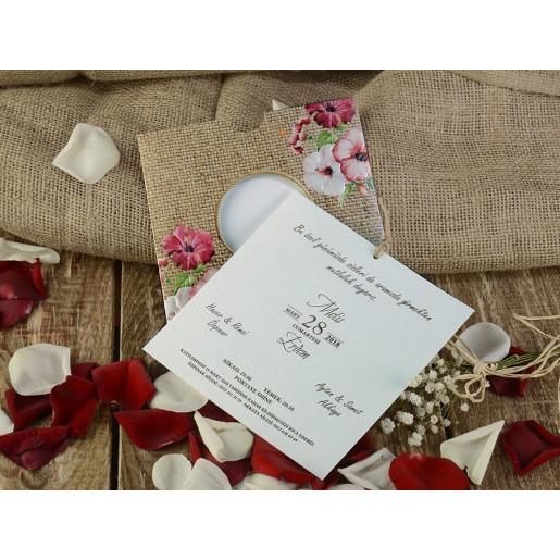 Invitatie de nunta rustica cu tema florala 16202 ARMONI