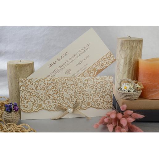 Invitatie dantelata cu fundita si perla 17029 ARMONI