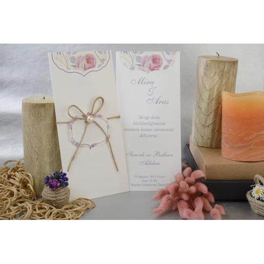 Invitatie florala cu funda si perla 17031 ARMONI