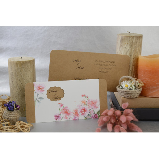 Invitatie vintage cu flori 17096 ARMONI