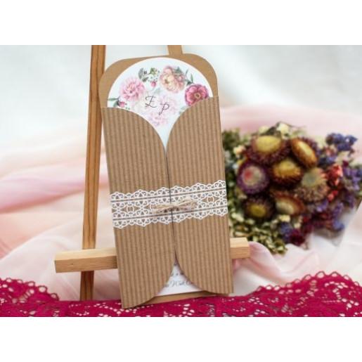 Invitatie de nunta cu model floral rustic 175