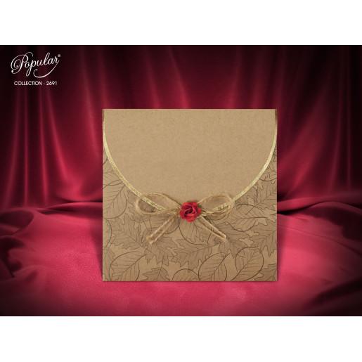 Invitatie de nunta vintage cu fundita 2691