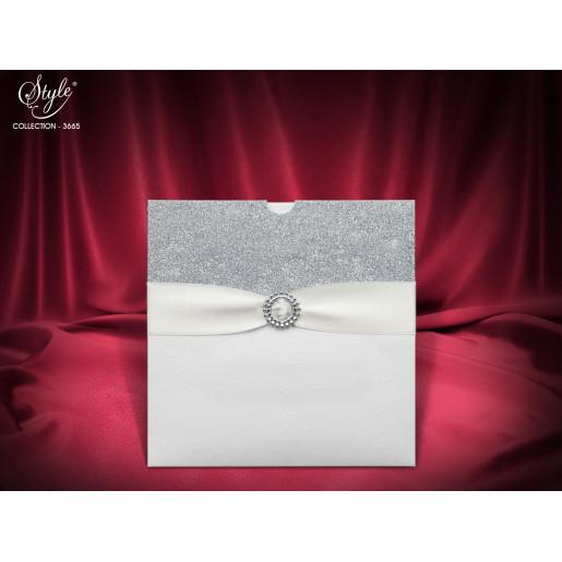 Invitatie de nunta eleganta cu argintiu 3665 SEDEF