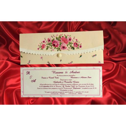 Invitatie de nunta florala dantelata 419