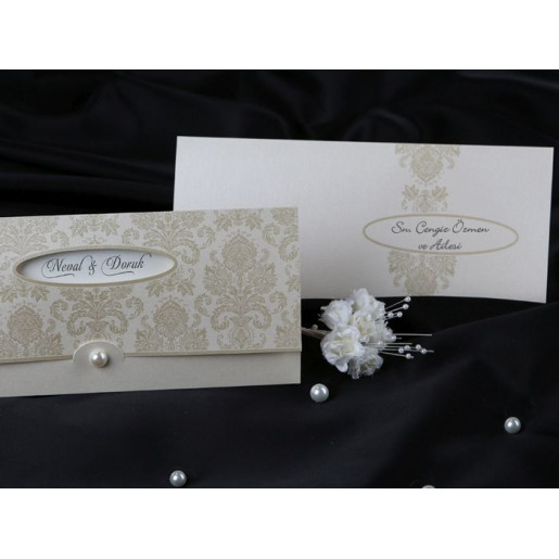 Invitatie de nunta baroc cu perla 60302 KRISTAL