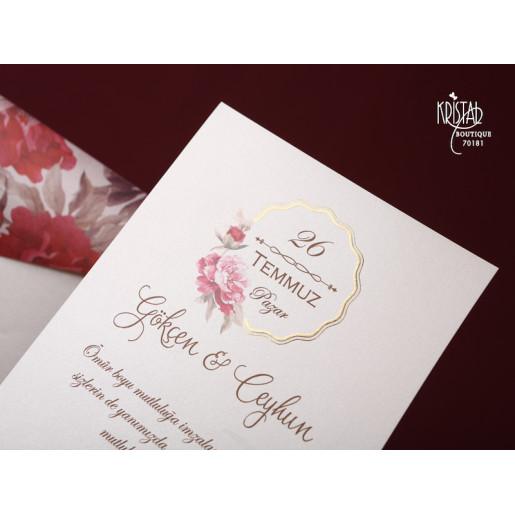Invitatie De Nunta Florala Cu Fundita 653