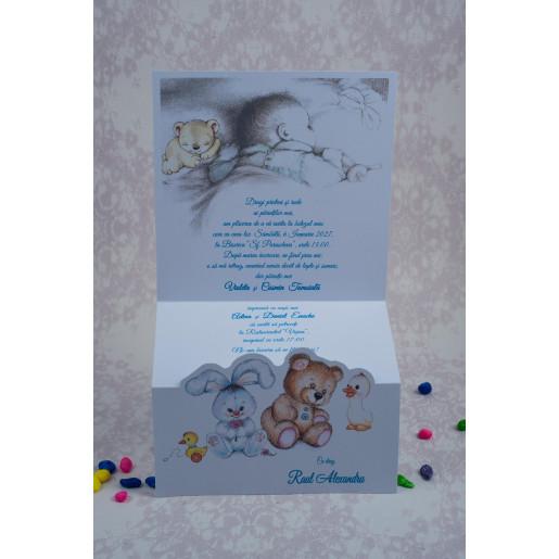 Invitatie de botez cu animalute plus 8024 ODISEEA - BAZA
