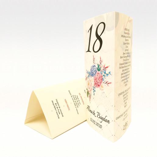 Meniu triunghiular floral cu hortensii MT86 - Crem