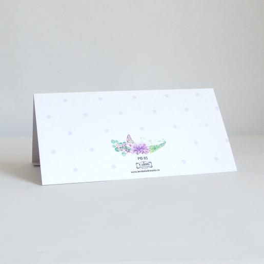 Plic pentru bani cu flori, fluturi si buline mov PB85 - Alb