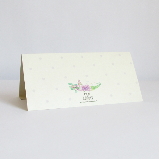 Plic pentru bani cu flori, fluturi si buline mov PB85 - Crem
