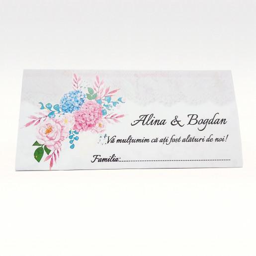 Plic pentru bani floral cu hortensii PB86 - Alb
