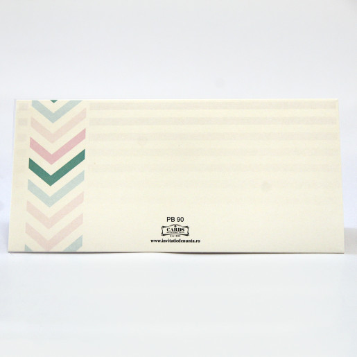 Plic pentru bani modern cu dungi si porumbei PB90 - Crem