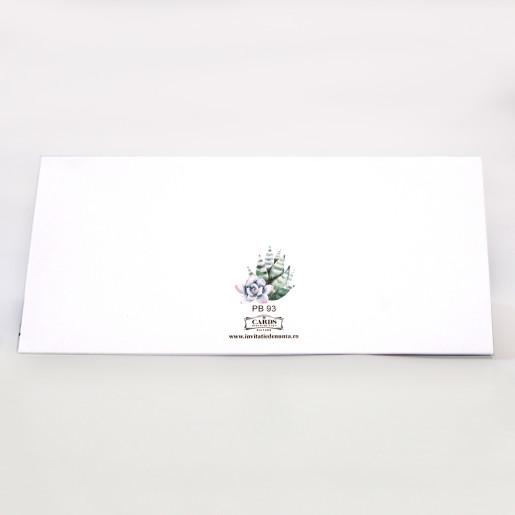 Plic pentru bani cu cactusi acuarela PB93 - Alb