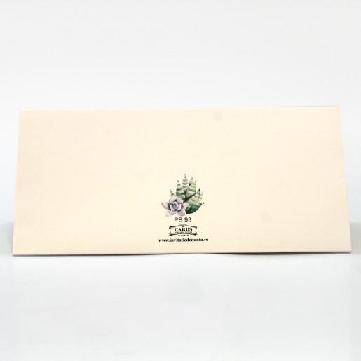 Plic pentru bani cu cactusi acuarela PB93 - Crem