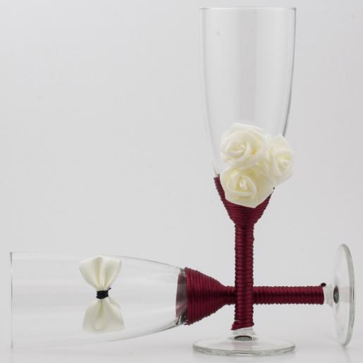 Set pahare miri bordo cu alb