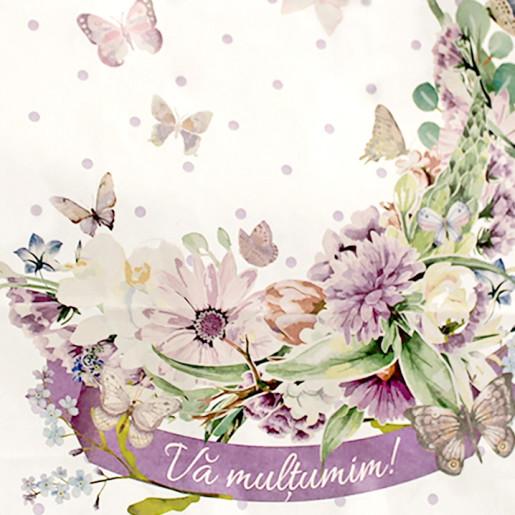 Punga nunta cu flori, fluturi si buline mov PN 10006