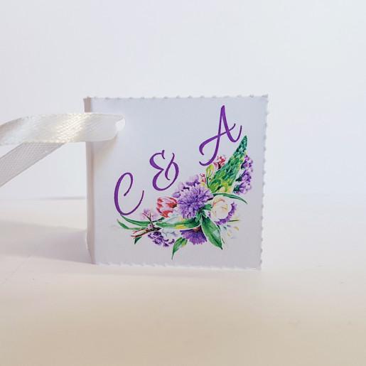 Eticheta - Card dublu perforat alb 85