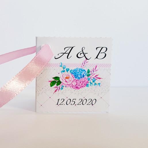 Eticheta - Card dublu perforat alb 86