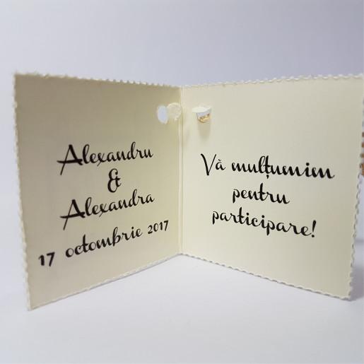 Eticheta - Card dublu perforat crem 61