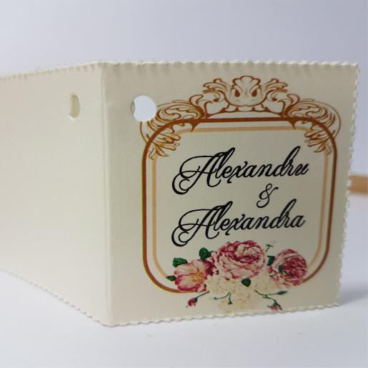 Eticheta - Card dublu perforat crem 68