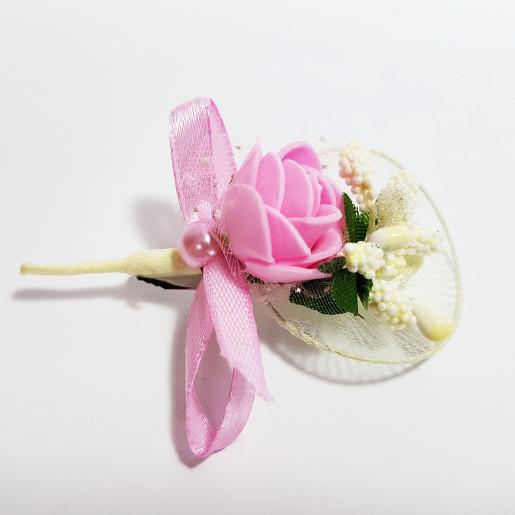 Cocarda cu trandafiri artificiali 03 roz