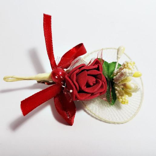 Cocarda cu trandafiri artificiali 03 visiniu