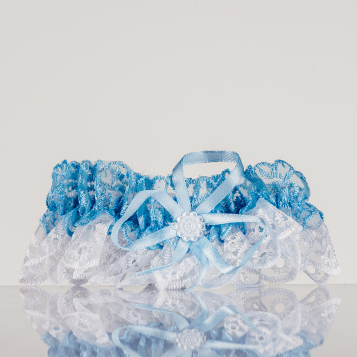 Jartiera mireasa din dantela albastra deschis si alba 06