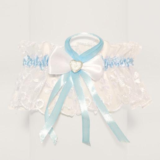 Jartiera mireasa din dantela alba cu panglica albastra 15